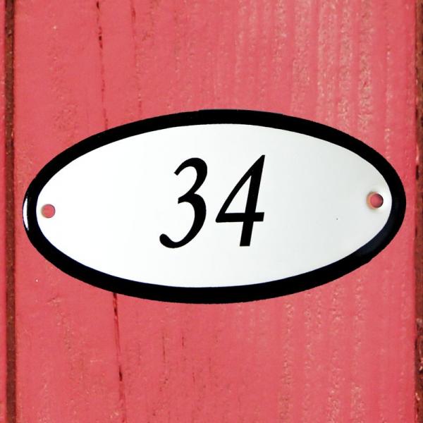 Huisnummerbordje ovaal nummer 34