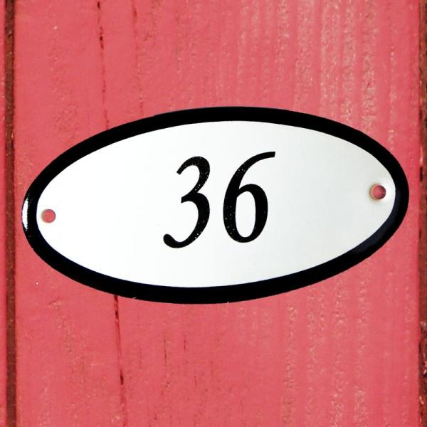 Huisnummerbordje ovaal nummer 36