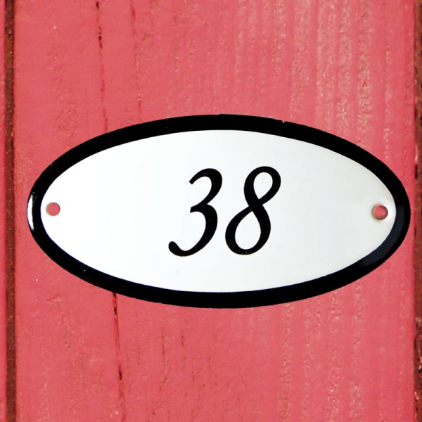 Huisnummerbordje ovaal nummer 38