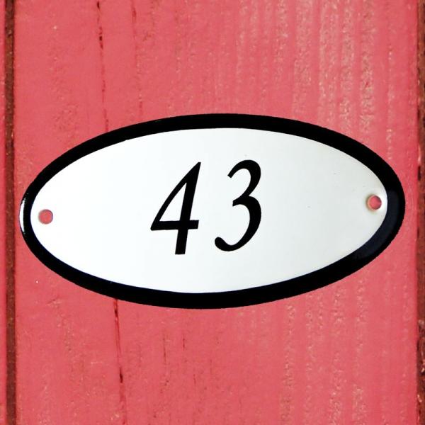 Huisnummerbordje ovaal nummer 43