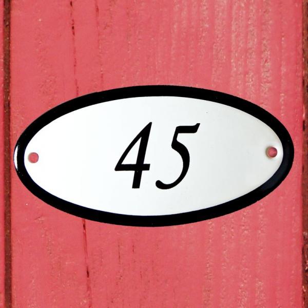 Huisnummerbordje ovaal nummer 45