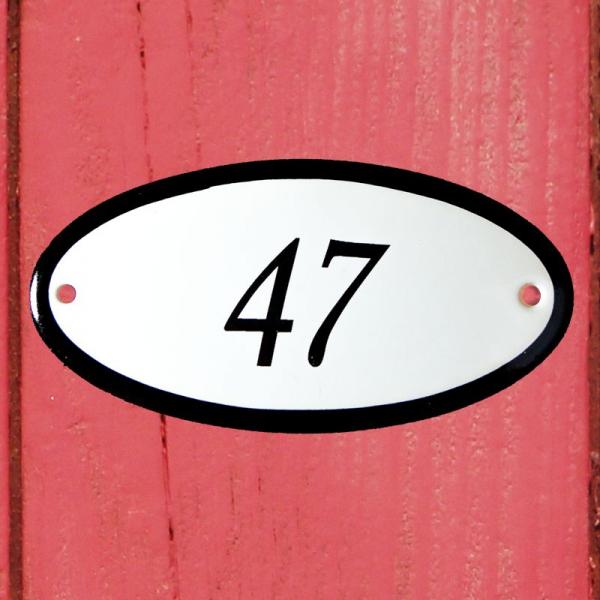 Huisnummerbordje ovaal nummer 47
