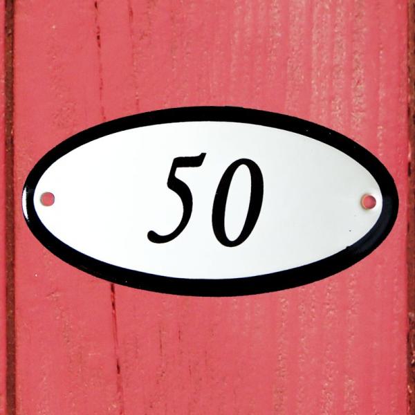Huisnummerbordje ovaal nummer 50