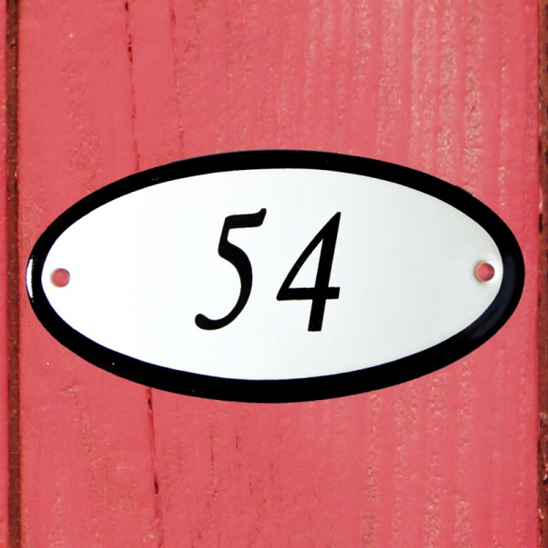 Huisnummerbordje ovaal nummer 54