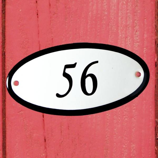 Huisnummerbordje ovaal nummer 56