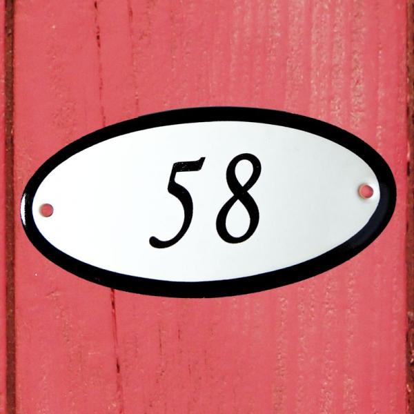 Huisnummerbordje ovaal nummer 58