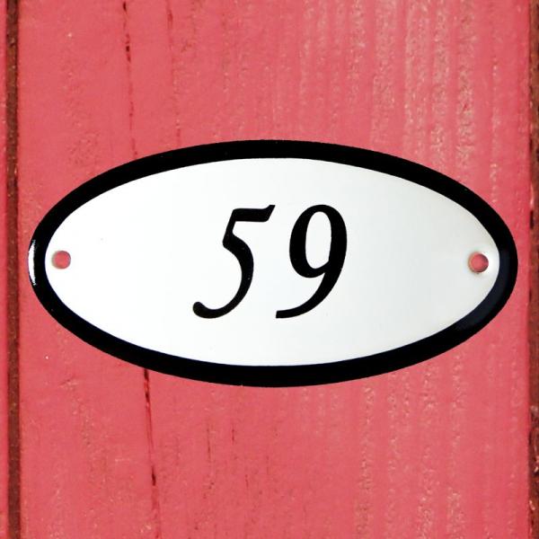 Huisnummerbordje ovaal nummer 59