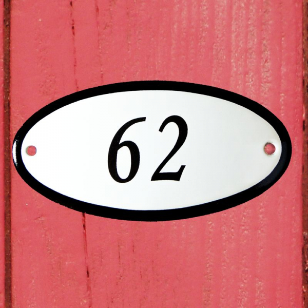 Huisnummerbordje ovaal nummer 62