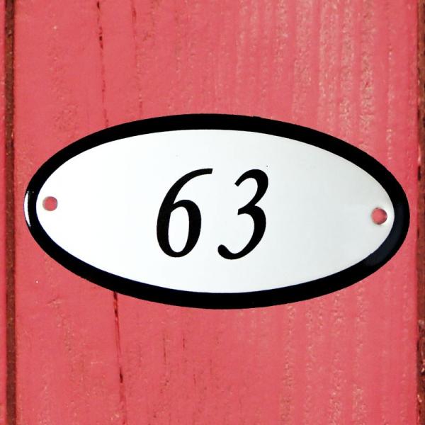 Huisnummerbordje ovaal nummer 63