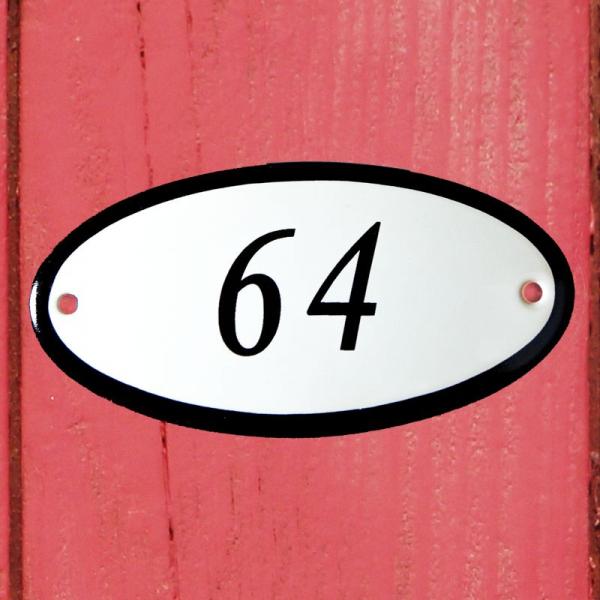 Huisnummerbordje ovaal nummer 64