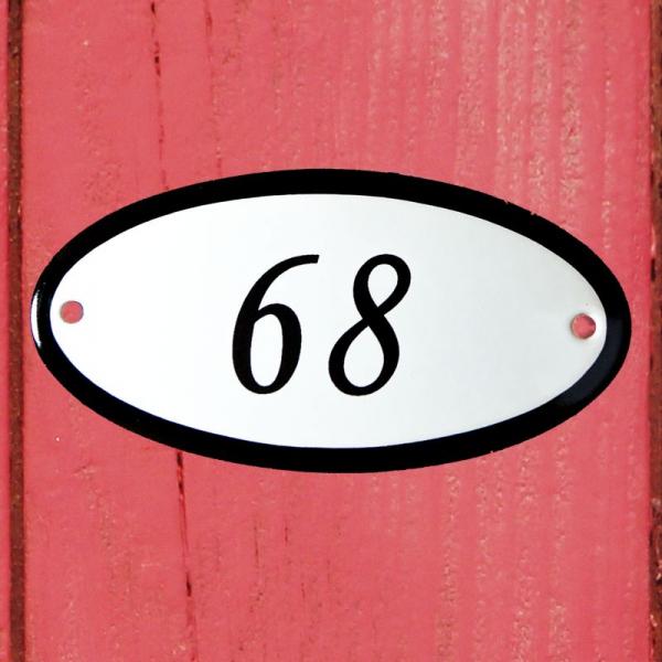 Huisnummerbordje ovaal nummer 68
