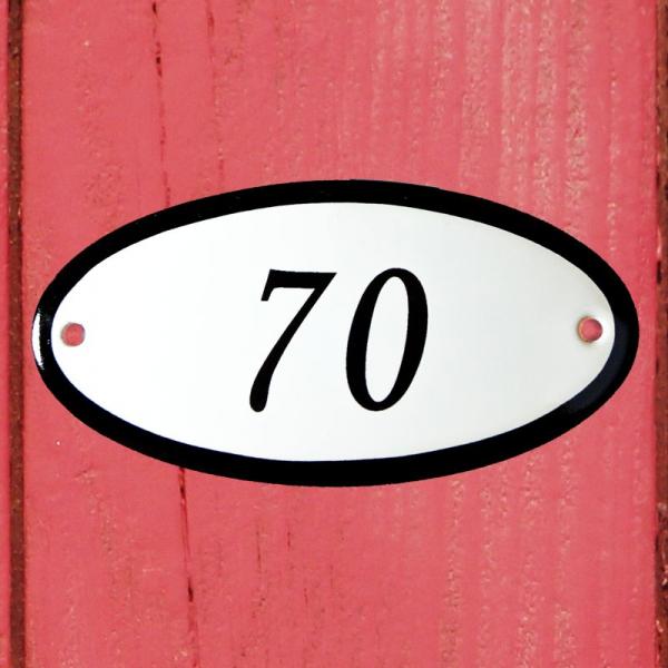 Huisnummerbordje ovaal nummer 70