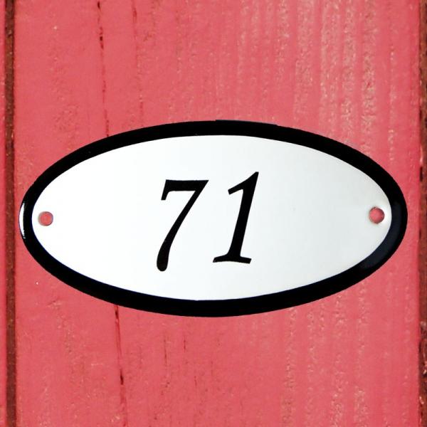 Huisnummerbordje ovaal nummer 71
