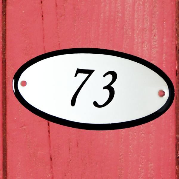 Huisnummerbordje ovaal nummer 73