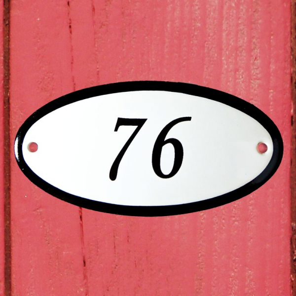 Huisnummerbordje ovaal nummer 76