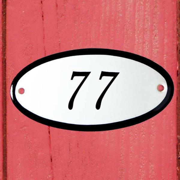 Huisnummerbordje ovaal nummer 77