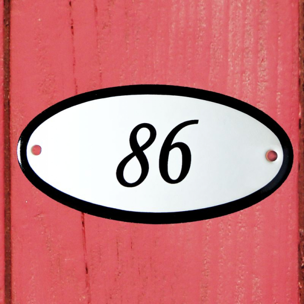 Huisnummerbordje ovaal nummer 86