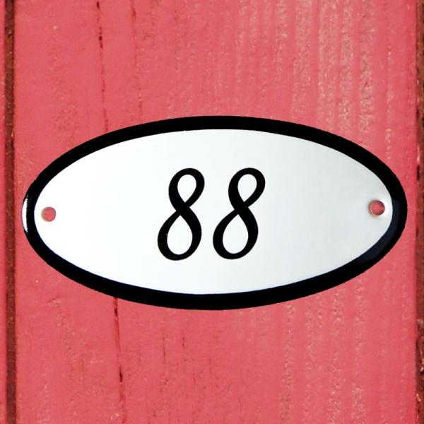 Huisnummerbordje ovaal nummer 88