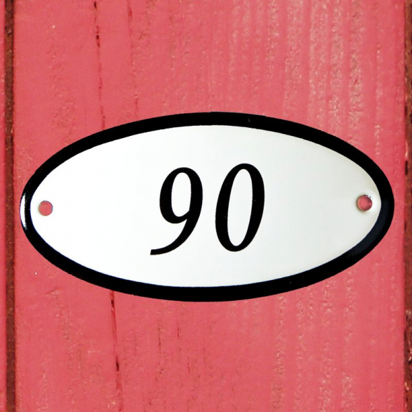 Huisnummerbordje ovaal nummer 90