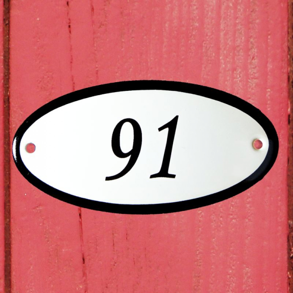 Huisnummerbordje ovaal nummer 91