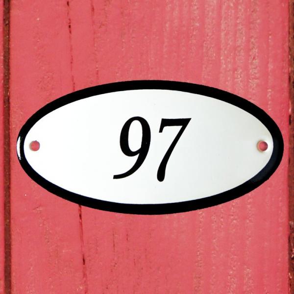 Huisnummerbordje ovaal nummer 97
