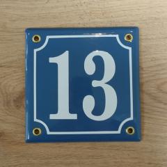 Huisnummerbord 'extra 13cmx13cm' nummer 13 aanbieding
