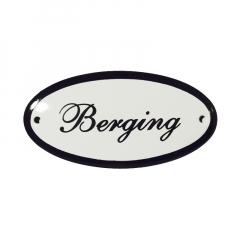 Emaile deurbordje met de tekst 'Berging'
