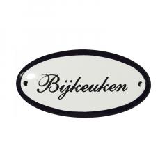 Emaille deurbordje met de tekst 'Bierkast'.