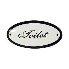 Emaille deurbordje met de tekst 'Toilet'.