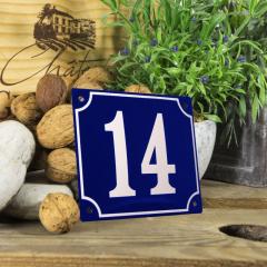 Huisnummerbord groot blauw nummer 14