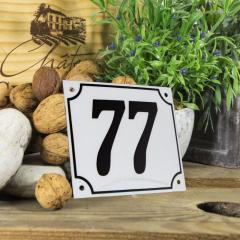 Huisnummerbord groot wit nummer 77