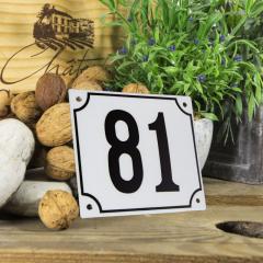 Huisnummerbord groot wit nummer 81