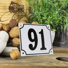 Huisnummerbord groot wit nummer 91