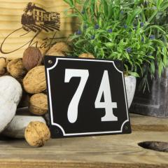 Huisnummerbord groot zwart nummer 74