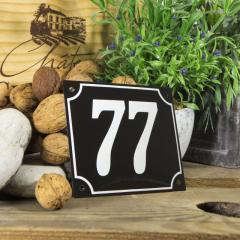 Huisnummerbord groot zwart nummer 77
