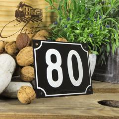 Huisnummerbord groot zwart nummer 80