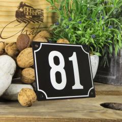 Huisnummerbord groot zwart nummer 81