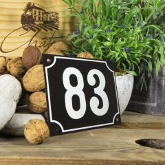 Huisnummerbord groot zwart nummer 83