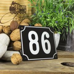 Huisnummerbord groot zwart nummer 86