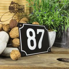 Huisnummerbord groot zwart nummer 87