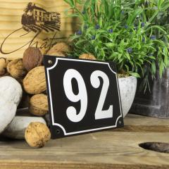 Huisnummerbord groot zwart nummer 92