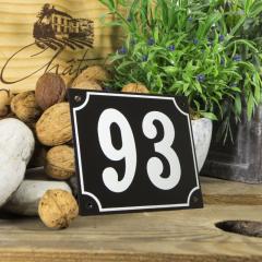 Huisnummerbord groot zwart nummer 93