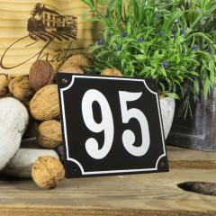 Huisnummerbord groot zwart nummer 95