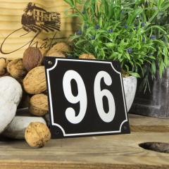 Huisnummerbord groot zwart nummer 96