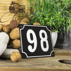Huisnummerbord groot zwart nummer 98