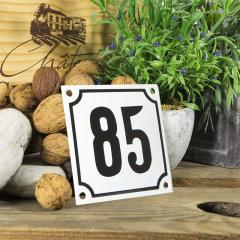 Huisnummerbord wit klein 10x10 cm nummer 84