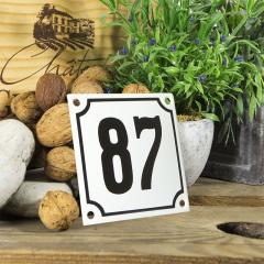 Huisnummerbord wit klein 10x10 cm nummer 86