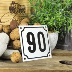 Huisnummerbord wit klein 10x10 cm nummer 89