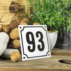 Huisnummerbord wit klein 10x10 cm nummer 92
