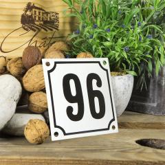 Huisnummerbord wit klein 10x10 cm nummer 95